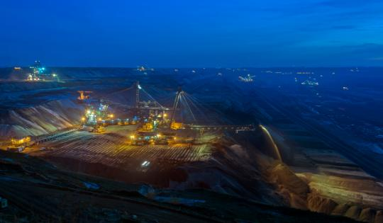 Mining site at night