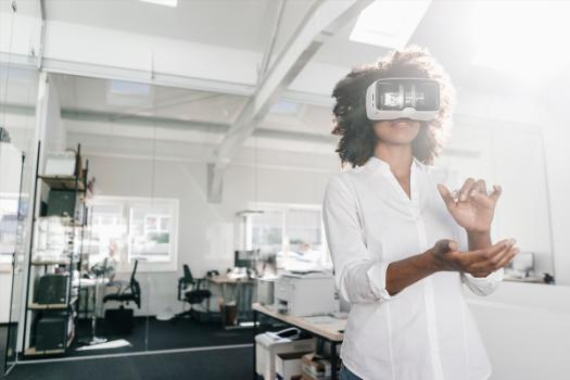 A woman using virtual reality headset
