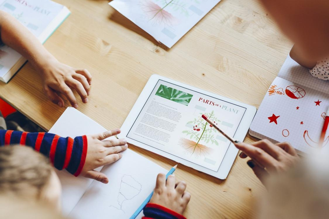 Image shows hands of children and teacher learning from tablet